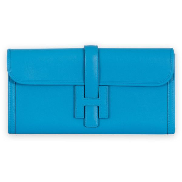 Pre-Owned Hermes Jige Elan Clutch Blue Zanzibar Swift ($5,795) ❤ liked on Polyvore featuring bags, handbags, clutches, blue zanzibar, hermes purse, real leather handbags, multi colored clutches, multi color purse and blue leather purse