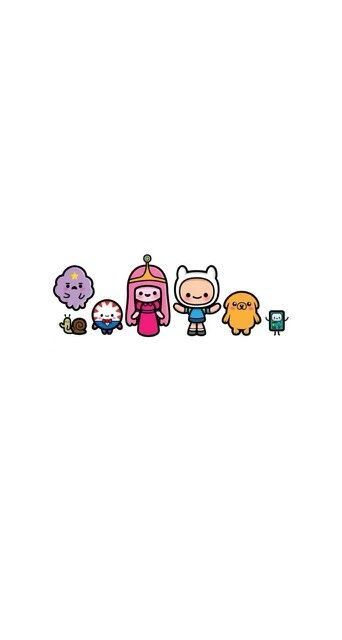 From left to right; Lumpy Space Princess(LSP), Snail, Peppermint Butler, Princess Bubblegum(PB), Finn The Human, Jake The Dog, and BMO