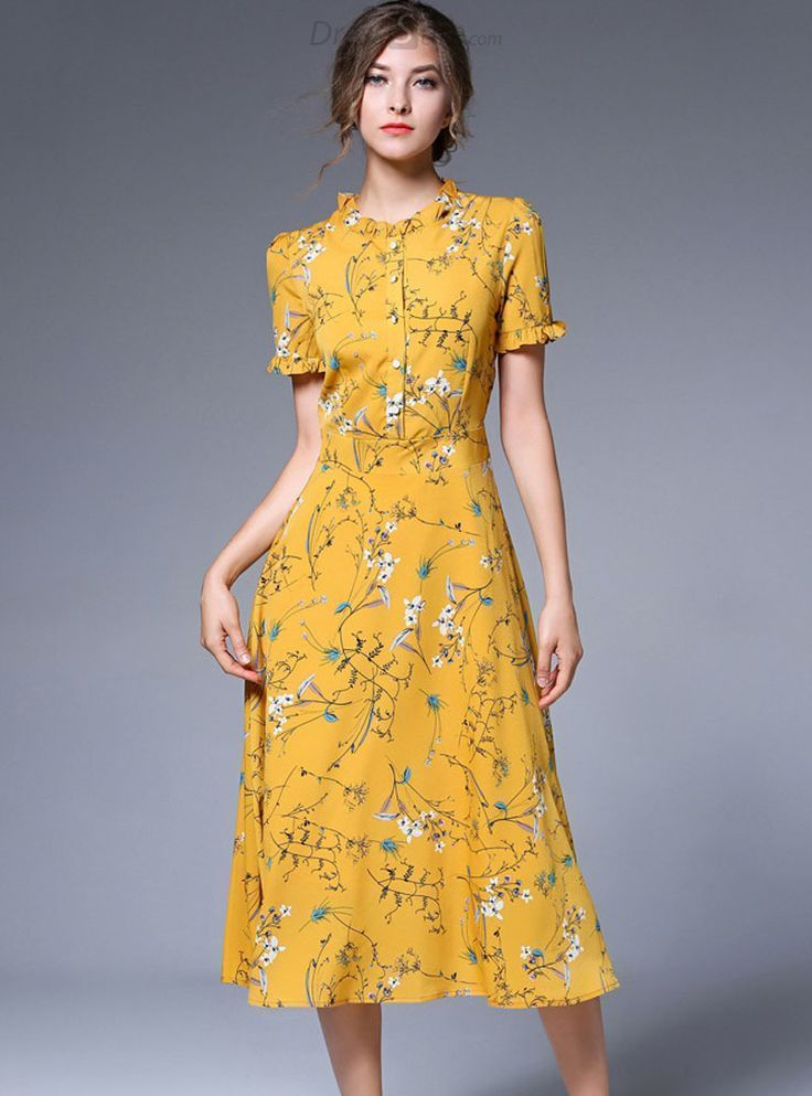 Buy Yellow Chiffon Floral Print Falbala Skater Dress with High Quality and Lovel…