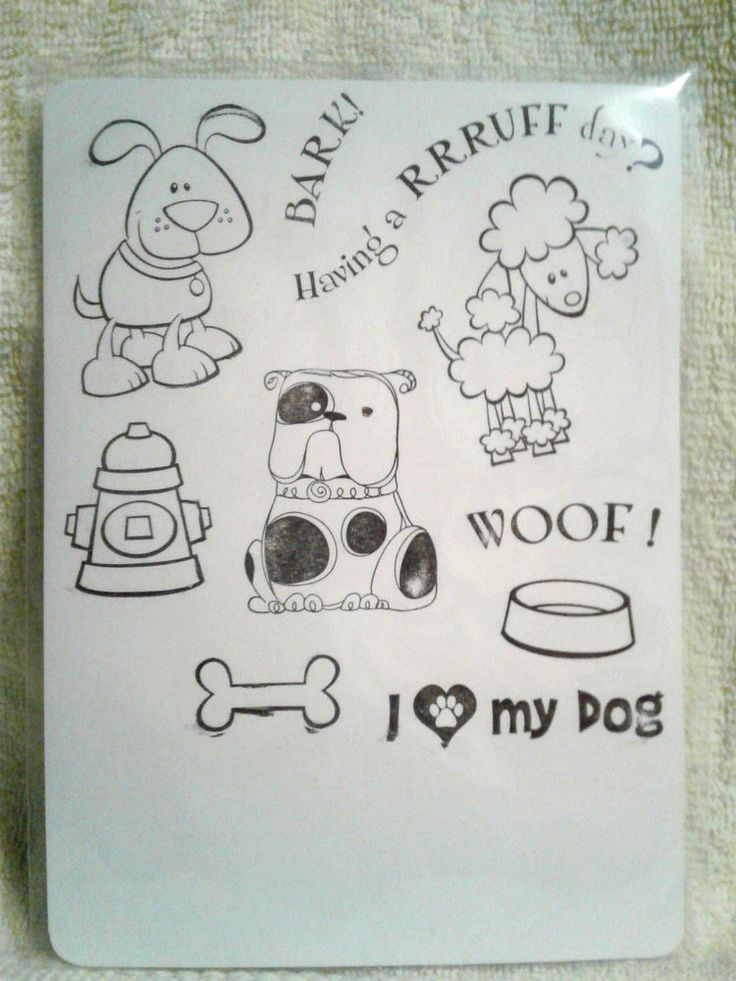 Nice I LOVE MY DOG Bark Woof Bone Fire Hydrant Set/10 Clear Stamps #Unbranded