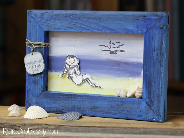 marine picture, beach stamps