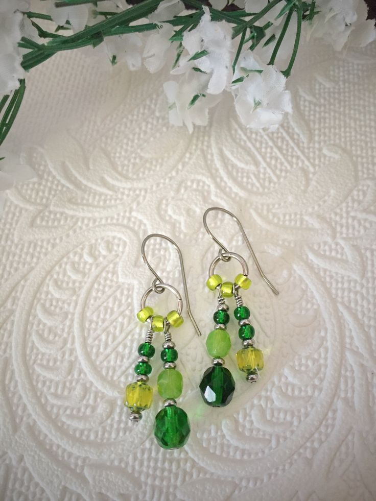 Green dangle earrings, boho style, with stainless steel