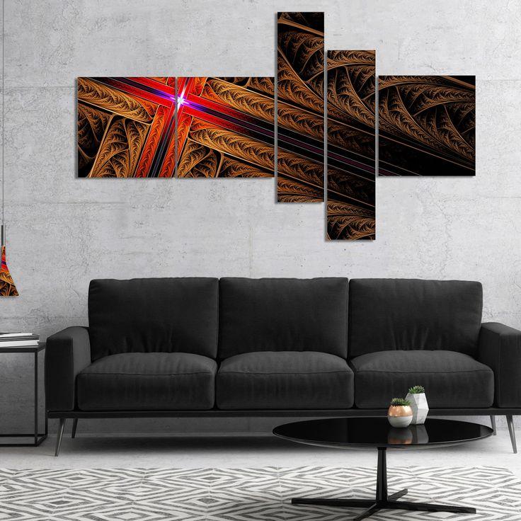Designart 'Golden Fractal Cross Design' Abstract Canvas Art Print