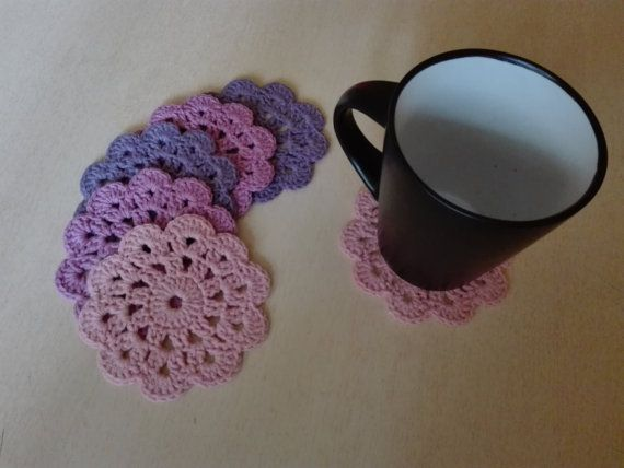 Crochet coasters  Pink and purple by kaizerka on Etsy