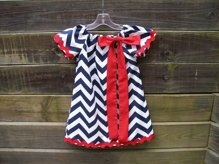 Red White and Blue Ole Miss Game Day Dress by SarahsKids on Etsy, $44.00