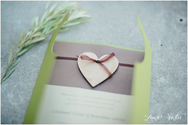 A different view of the green and brown invitation