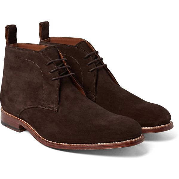 Grenson Marcus Suede Chukka Boots (6,100 MXN) ❤ liked on Polyvore featuring men's fashion, men's shoes, men's boots, mens suede shoes, mens chukka shoes, mens suede chukka boots, mens chukka boots and mens shoes chukka boots