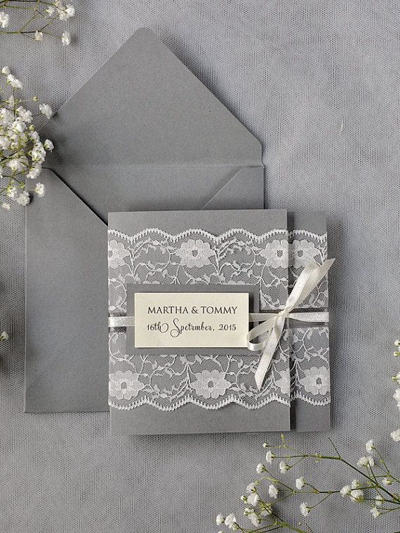 Ivory Lace  Wedding Invitation, Grey Wedding Invitation, Pocket Fold Wedding Invitations , Vintage Wedding invitation on Etsy, $5.60