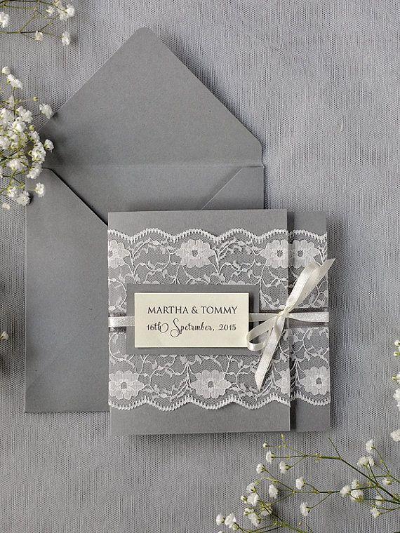 Ivory Lace  Wedding Invitation, Grey Wedding Invitation, Pocket Fold Wedding Invitations , Vintage Wedding invitation on Etsy, $5.60
