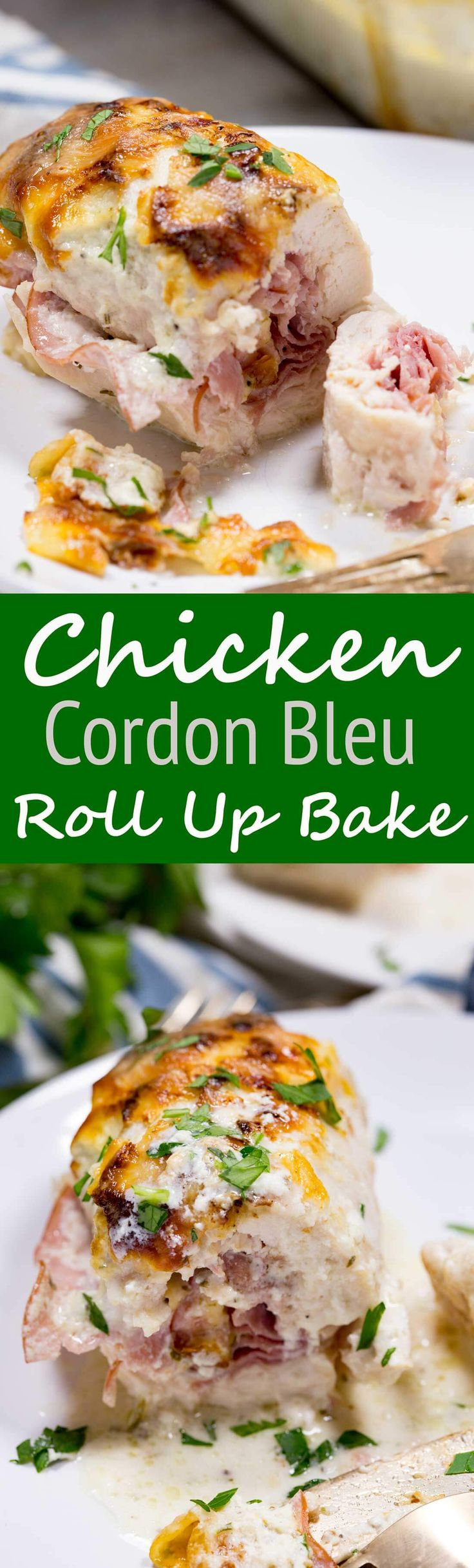 Chicken Cordon Bleu Roll up Bake is chicken with ham, cheese, bathed in a creamy alfredo sauce! This is the best dinner ever! #ad #stellacheese