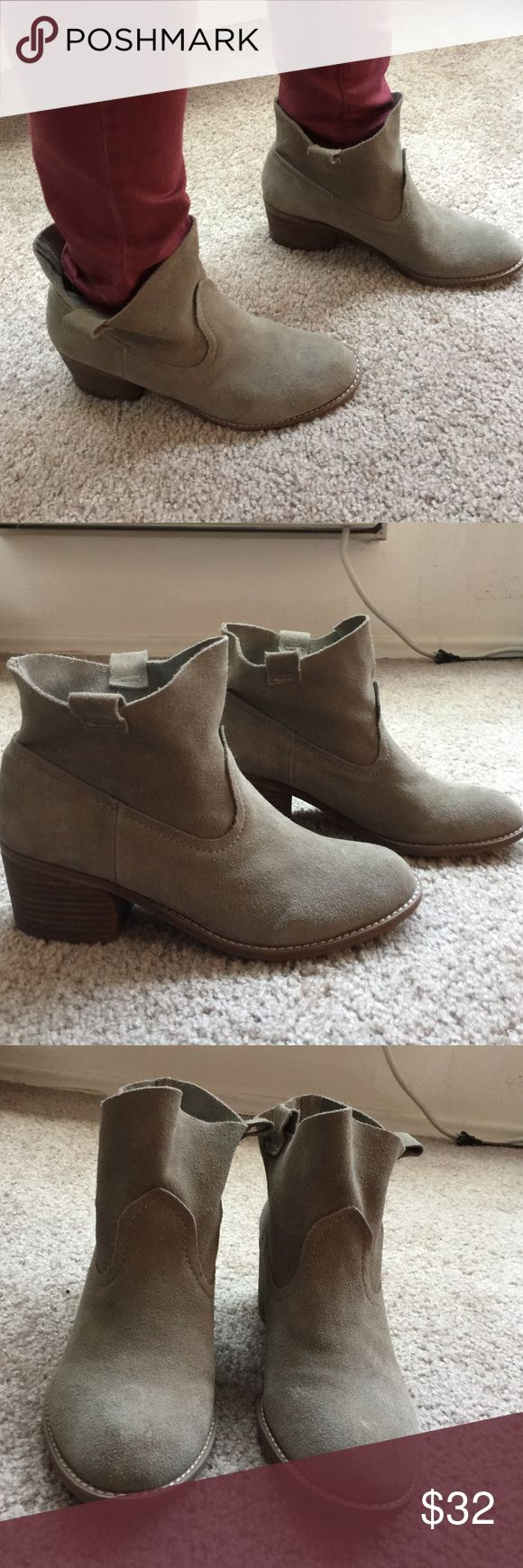 New Carlos Santana taupe suede ankle cowboy boots Size 9 medium Carlos Santana brand stacked heel ankle boots that are a tope color suede material. Authentic and real leather upper. cute boot and comfortable fit. Carlos Santana Shoes Ankle Boots & Booties