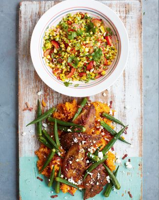 Defo took longer than 15 mins but was worth it. spicy cajun chicken, smashed sweet potato & fresh corn salsa | Jamie Oliver | Food | Recipes (UK)