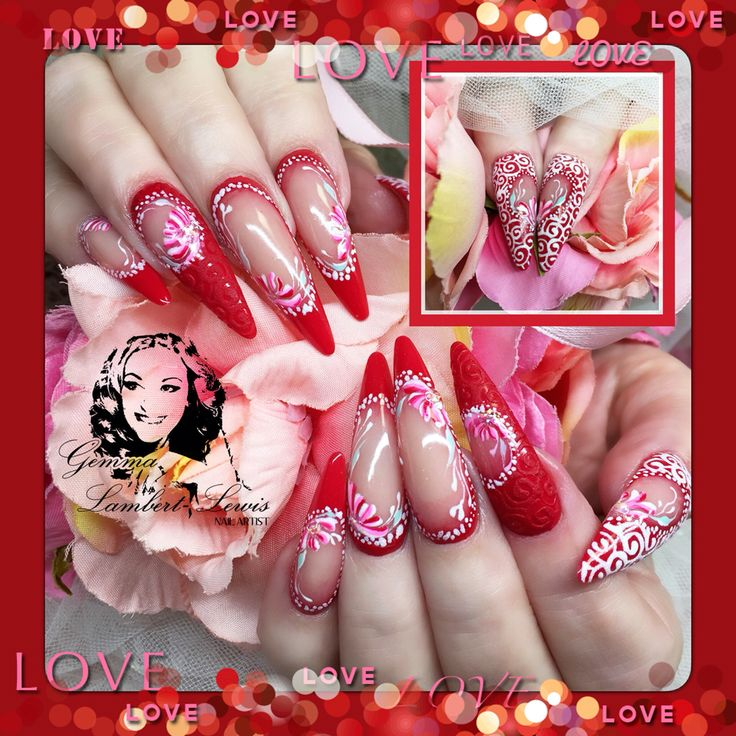 Valentines gel Russian art with sands and sugar technique