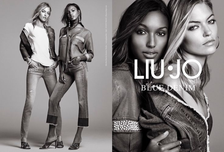 Models Martha Hunt and Jasmine Tookes pose in denim for Liu Jo's spring 2017 campaign