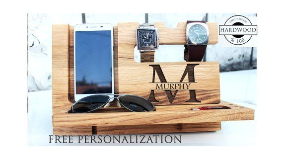Perfect gift idea Wood Dock Station, Free personalized nightstand organize for man,Wooden Phone Stan