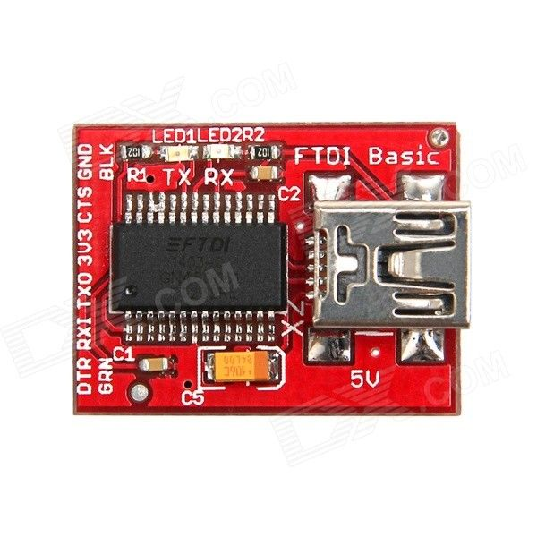 Geeetech BOT-06653 FTDI Basic Breakout Downloader for LilyPad Fio / Pro - Red. The basic breakout board is for the FTDI FT232RL USB to serial IC; The pinout of this board matches the FTDI cable to work with official Arduino and cloned 5V Arduino boards; The major difference with this board is that it brings out the DTR pin as opposed to the RTS pin of the FTDI cable; The DTR pin allows an Arduino target to auto-reset when a new sketch is downloaded; This is a really nice feature to have and…