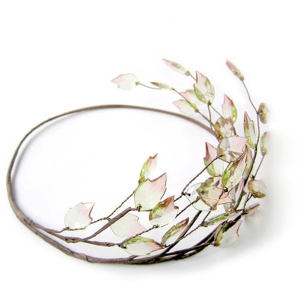 Leaf Crown, Leaf Headpiece, Rustic Head Wreath, Grecian Head Piece,... ($28) ❤ liked on Polyvore featuring accessories, hair accessories, crowns, jewelry, head, tiara, beaded wire garland, party crowns, floral garland and leaves garland