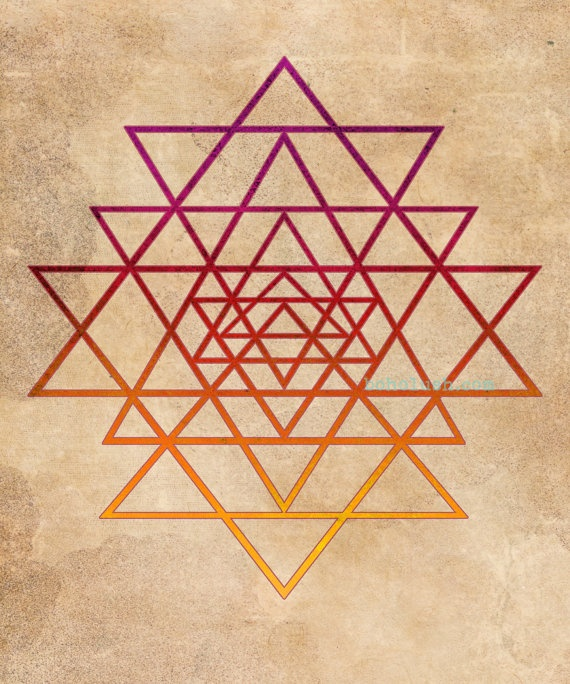 Sacred Geometry Yoga Meditation Giclee Print 16x20  by bohoLUSH, $49.00