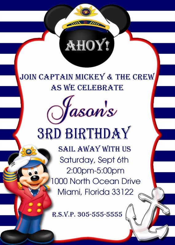 MICKEY MOUSE NAUTICAL Birthday by PerfectPixelFactory on Etsy                                                                                                                                                                                 More