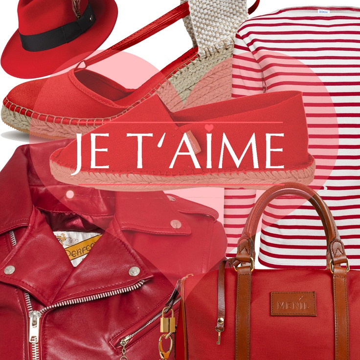 Love is red and so are we today!    Spanish espadrilles with wedges by espadrij l'originale // French handmade espadrilles by espadrij l'originale // Red & white striped original breton shirt by Orcival // The original PERFECTO leather biker jacket by Schott NYC // Trés chic: Honoré bag by Menil // Straight from Hollywood: Red hat by Bailey Hats