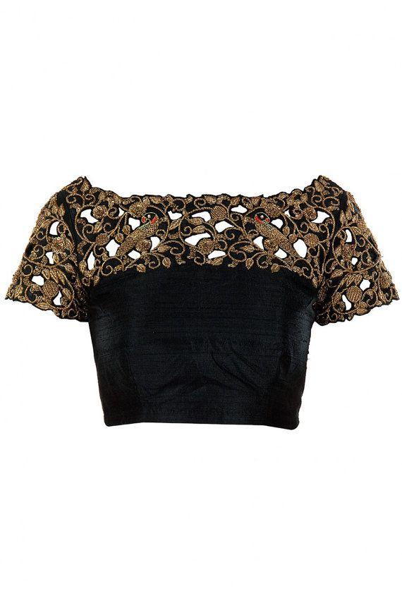 Black cut work blouse with beautiful zardosi handwork. by Sravams