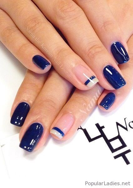 Navy gel nails with some design