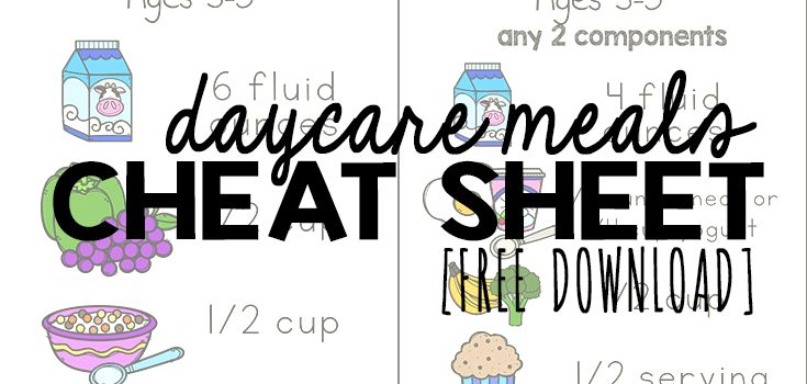 Daycare Meals Cheat Sheet
