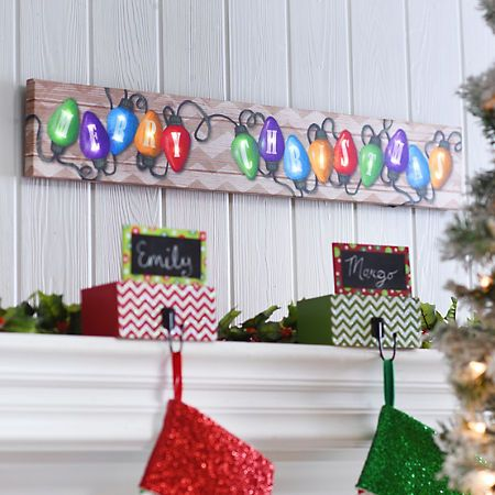 Merry Christmas Light LED Canvas Art Print | Kirklands
