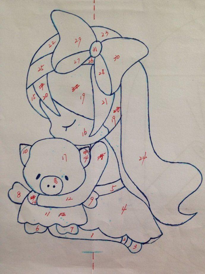 [转载]图纸分享---抱小猪的小女孩