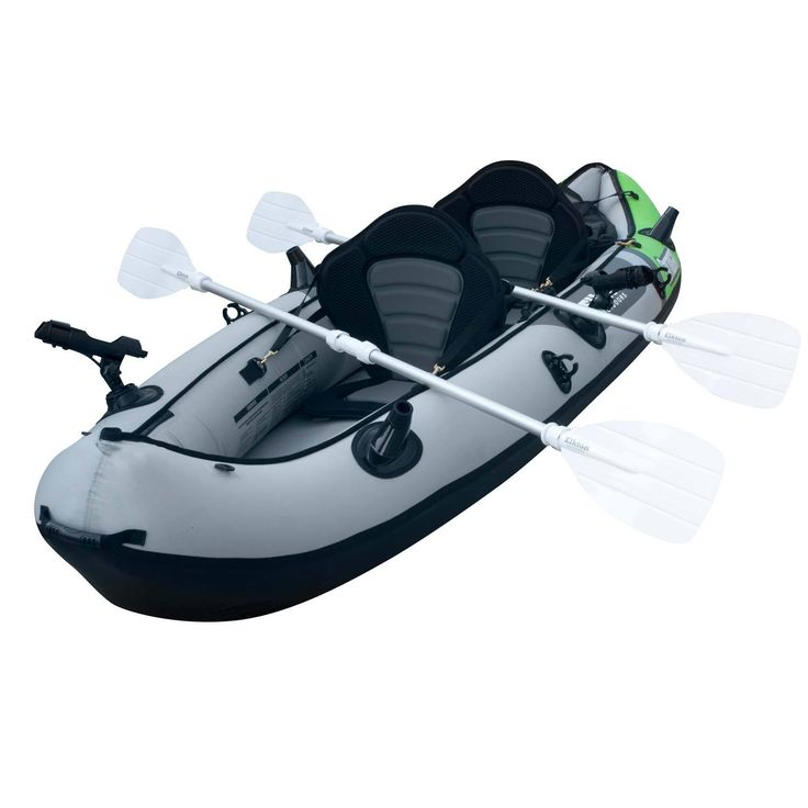 Inflatable 2 Person Fishing Kayak Set With 6 Dynamic Rod Holders
