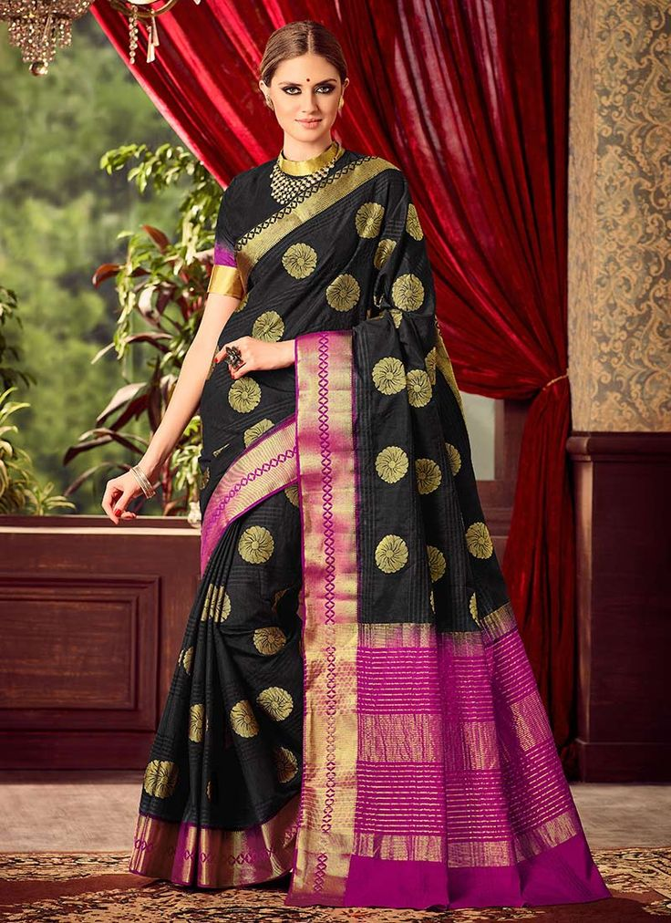 Buy Black N Pink Uppada Art Silk Saree online from the wide collection of sari.  This Black | Pink colored sari in Art Silk fabric goes well with any occasion. Shop online Designer sari from cbazaar at the lowest price.