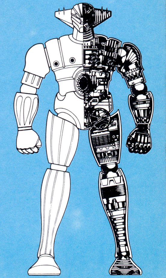 """鋼鉄ジーグ  seems almost mandatory that all giant robots should have the """"half blueprint"""". Jeeg in this instance."""