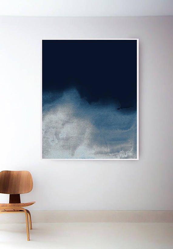 printable navy wave print dark blue abstract prints blue wall art