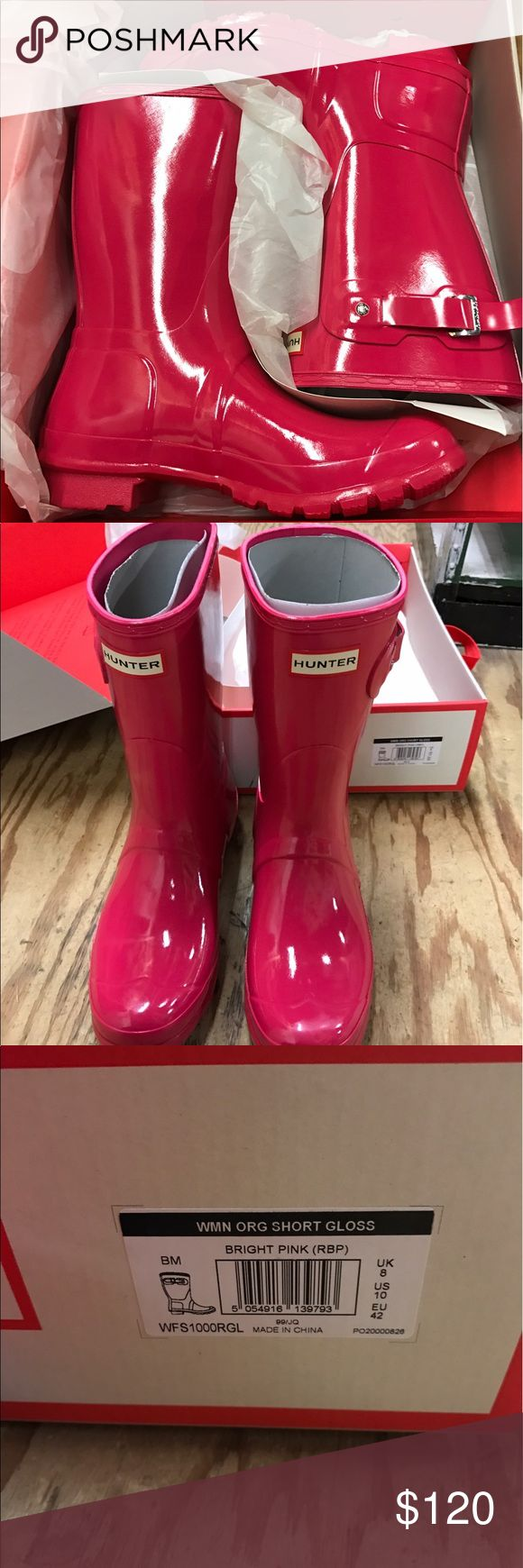 Women's Hunter Boots short gloss Bright Pink Brand new in box. Women's Hunter boots short gloss Bright Pink size 10. also have a ton of other hunter boots as well. Please feel free to send a message asking about a particular hunter Boot. I only carry the originals, and back adjustable. Hunter Shoes Winter & Rain Boots
