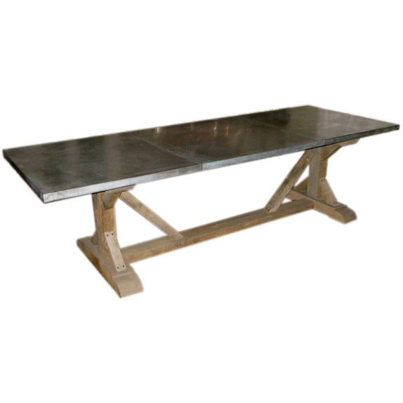 Belgian Zinc Top On 19th Century Barnwood Trestle Base Dining Table Balsamoantiques