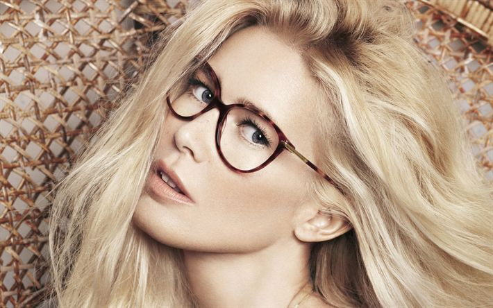 Download wallpapers Claudia Schiffer, woman with glasses, portrait, German supermodel, fashion model