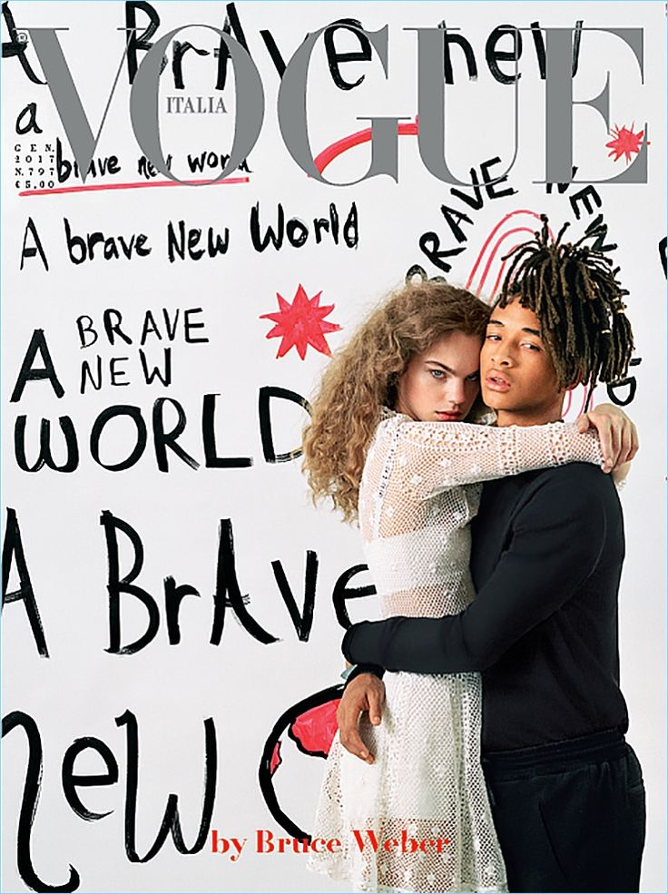 Estella Boersma and Jaden Smith cover the January 2017 issue of Vogue Italia.