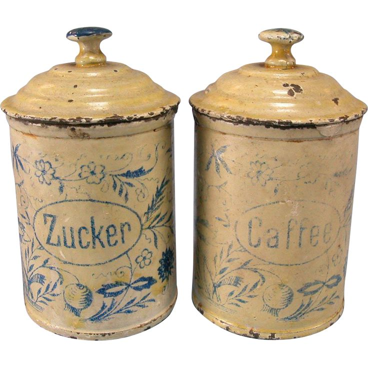 Set Of 2 Antique German Miniature Round Sugar U0026 Coffee Canisters For The  Doll Kitchen Early 1900s
