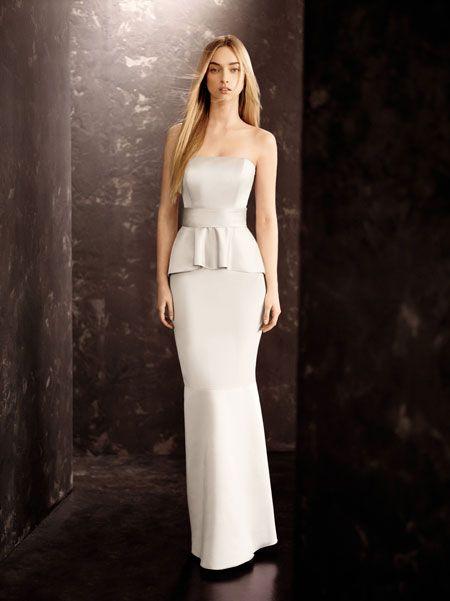 White by Vera Wang peplum bridesmaid dress