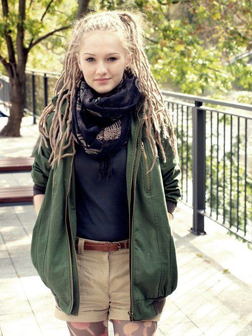 Dreads come in all sizes, lengths, thickness, colors... this gal sports thinner, long dreadlocks