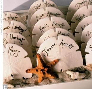 Awesome sand dollar place cards for a beach wedding