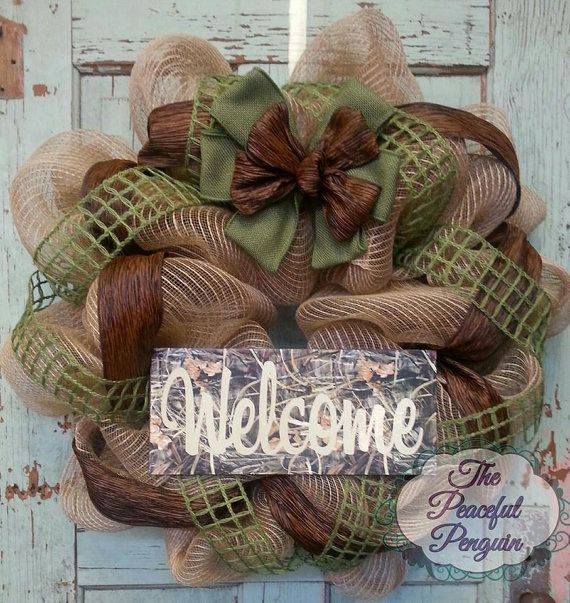 Hunting Camo Burlap Mesh Welcome Wreath by ThePeacefulPenguin
