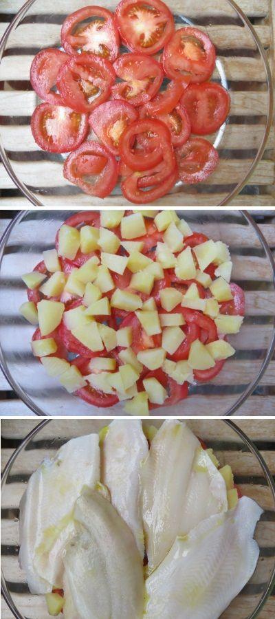 Filetti di platessa con patate e pomodori al profumo di basilico