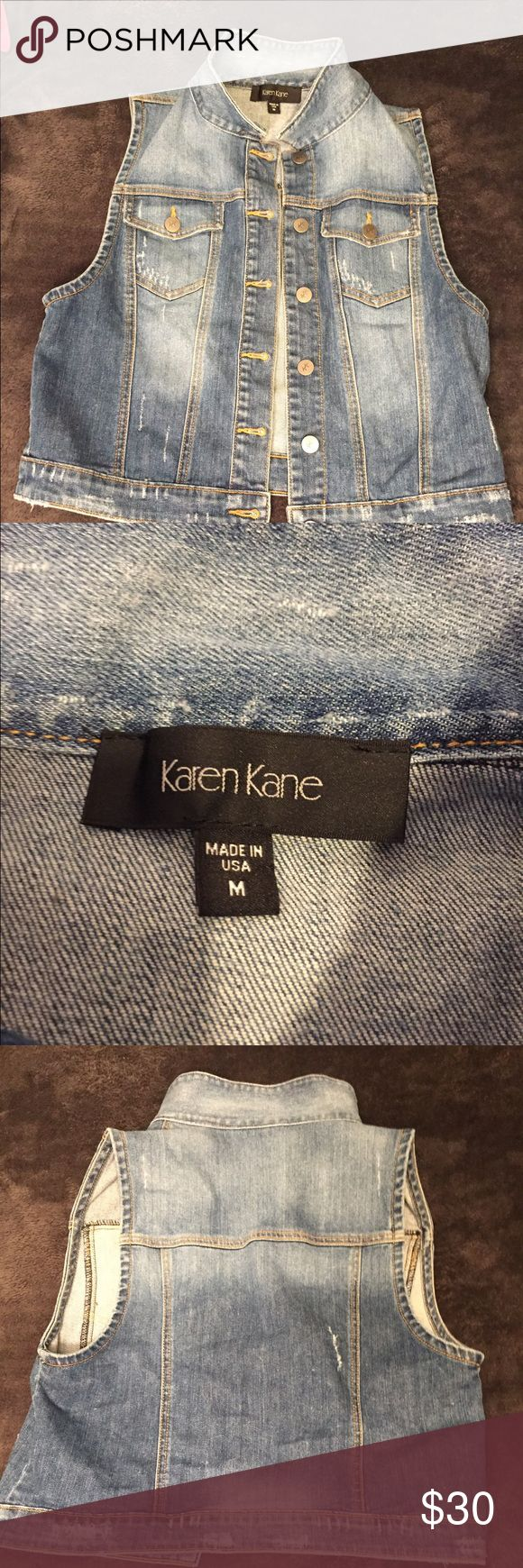 Karen Kane Jean Vest EUC, worn a few times. The first two photos are stock pics to show fit. Karen Kane Jackets & Coats Vests