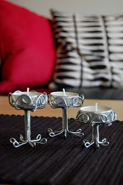 Wave wire candle holders  .