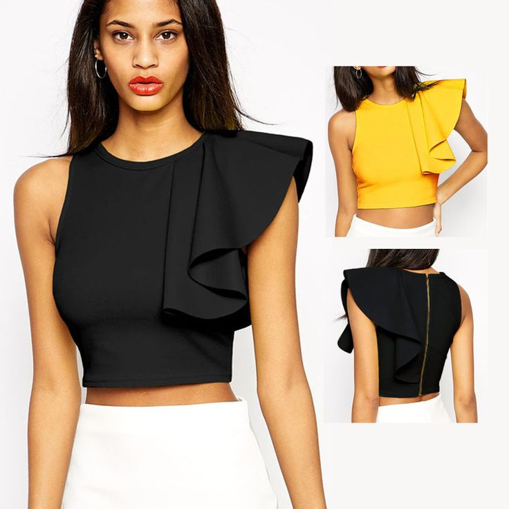 Fashion Designer Asymmetric Black Yellow Sleeveless O-neck Short Woman Tops Summer Shirts Back Zipper Crop Top Ruffle L25434