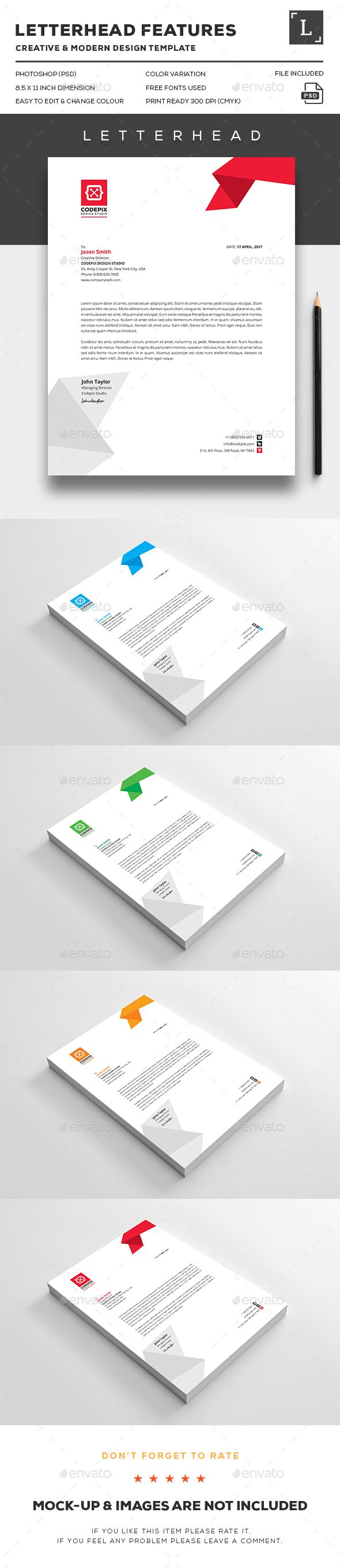 Business Letterhead Design Template - Stationery Print Template PSD. Download here: http://graphicriver.net/item/business-letterhead/16391027?ref=yinkira