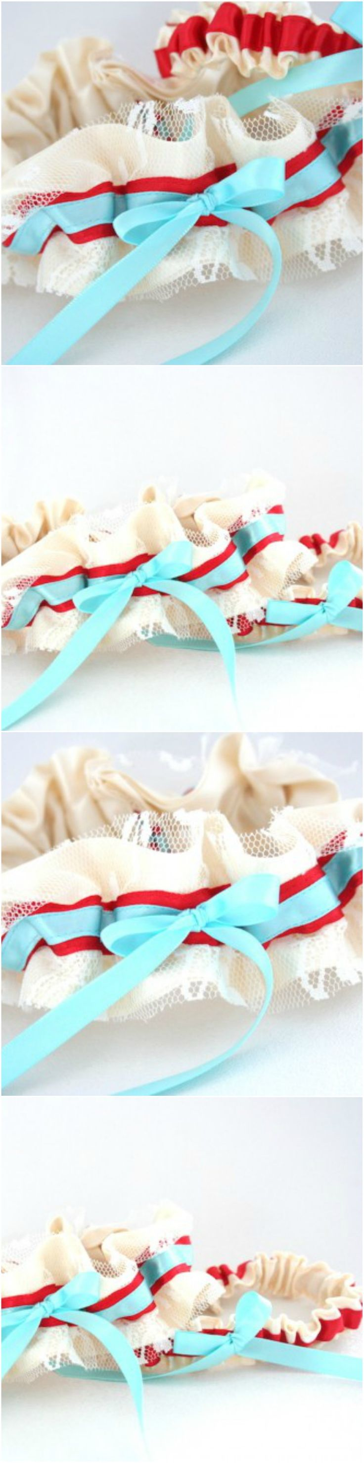 Custom ivory lace, turquoise and red wedding garter-by The Garter Girl