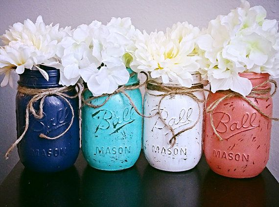 Paint Mason Jars Blue, Coral, And Mustard Yellow Part 28