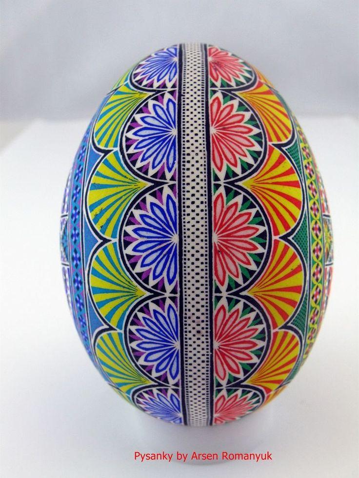 Real ukrainian pysanka in batik stile, big goose egg (varnish). Pysanky. Pisanki